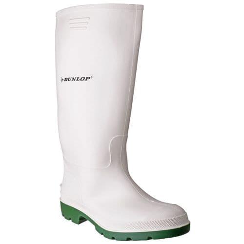 Dunlop Pricemastor Plain Rubber Wellingtons White / Green